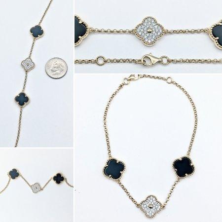 """Bracelet .25ctw Diamond 1.25ctw Onyx 14ky 7-7.25"""" 121070126"""