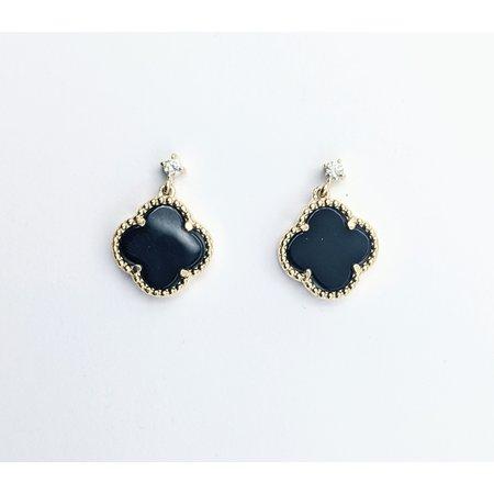 "Earrings .10ctw Diamond 1.25ctw Onyx 14ky .6x.5"" 121070127"