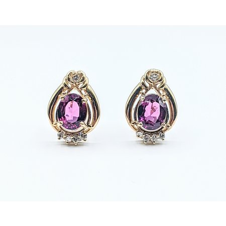Earrings .33ctw Diamonds 16.80ctw Garnets 14ky 121070235