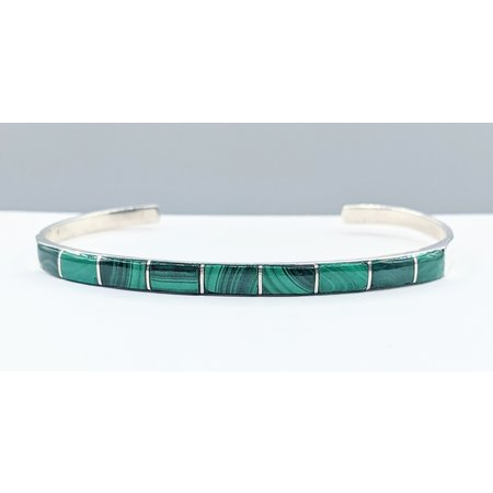 Bracelet Native American Cuff Malachite Silver 121080062