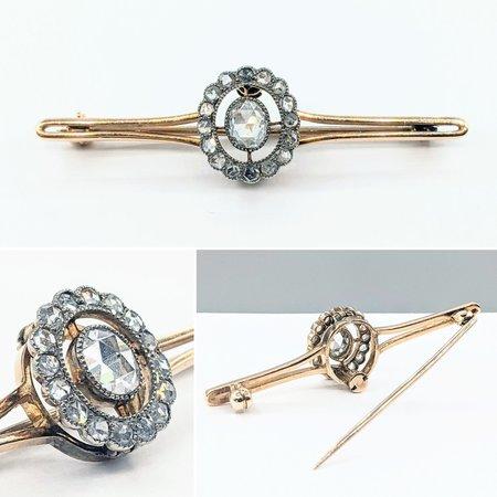 Brooch .75ctw Rose Cut Diamonds 14ky 121080083
