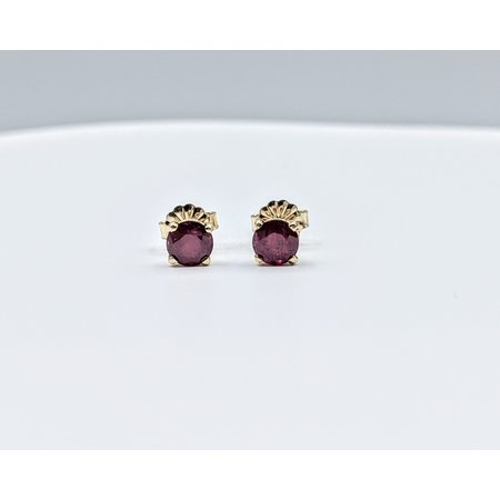 Earrings Stud 1.23ctw Round Rubies 14ky 5mm 121080093