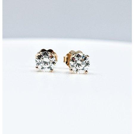 Earrings Studs 1.0ctw Round Diamonds 14ky 221080018