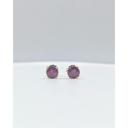 Earrings Stud 1.32ctw Round Rubies 14ky 5mm 121080094