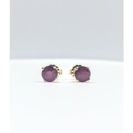 Earrings Stud 1.19ctw Round Rubies 14ky 5mm 121080092