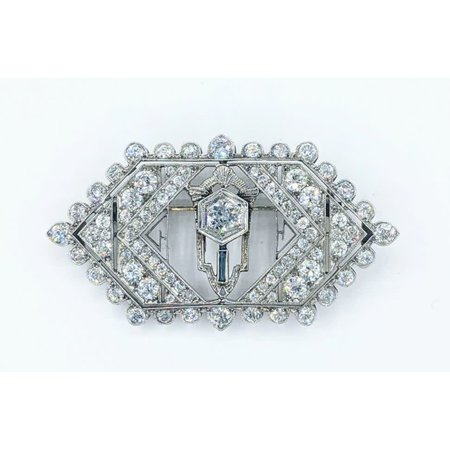 Brooch Art Deco 1.50ctw Round European Diamonds Platinum 44x24mm 221090013