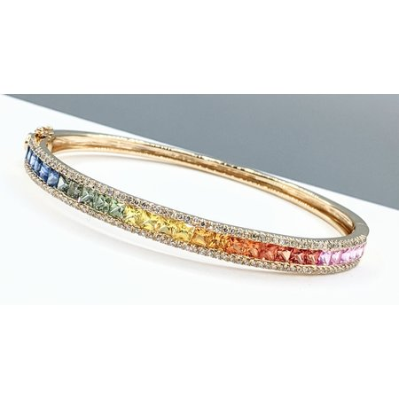 "Bracelet Bangle .70ctw Diamonds 4.35ctw Sapphire 14ky 7"" 121090092"