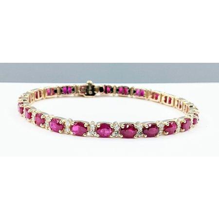 """Bracelet 1.20ctw Diamonds 9.08ctw Ruby 14ky 7"""" 121090094"""