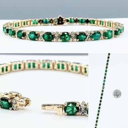 "Bracelet 1.20ctw Diamonds 8.80ctw Emerald 14ky 7"" 121090093"