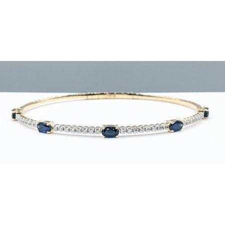 "Bracelet Flex .06ctw Diamonds 1.85ctw Sapphire 14ky 7"" 121090091"