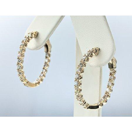 """Earrings Inside/Outside 2.46ctw Diamonds 14ky .8x.75"""" 121090003"""