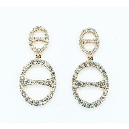 """Earrings Dangle 1.04ctw Diamonds 14ky 1x.5"""" 121090004"""