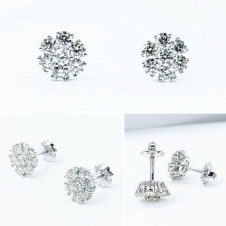 Earrings Cluster 1.40ctw Diamonds 14kw 8.5x8.5mm 121090015