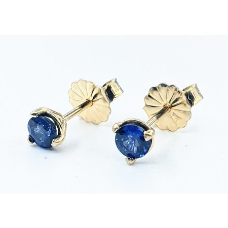 Earrings Stud .56ctw Round Sapphire 14ky 121090290