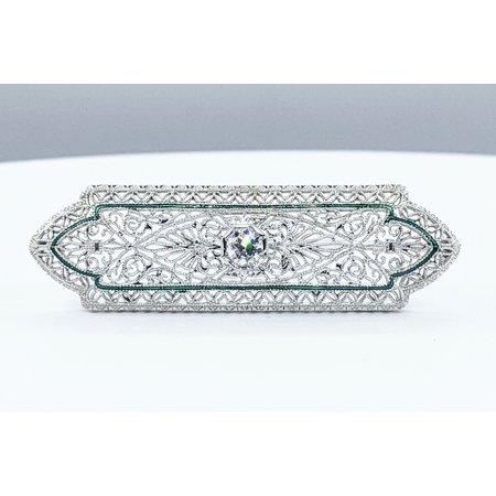 Brooch Antique .30ct Round European Diamond 14kw/Platinum 48x15mm 221090060