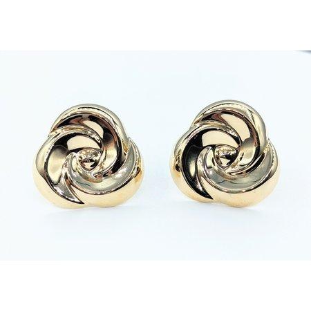 Earrings Swirl Button 14ky 24mm 221090102