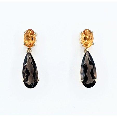 Earrings 12x5mm Pear Smokey Quartz 4x6mm Citrine 14ky 18.5x5mm 221090112