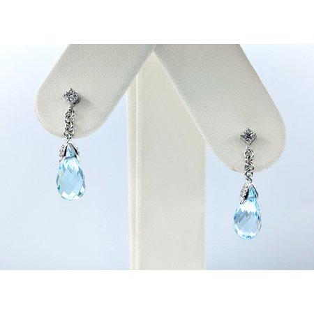 """Earrings Dangle .02ctw Diamonds 2.2ctw Topaz 14kw .9x.25"""" 121090214"""