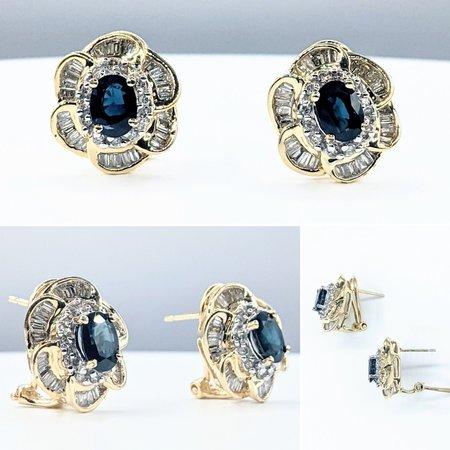 Earrings .66ctw Round & Baguette Diamonds 2.20ctw Sapphires 14ky 16x14mm 221090100
