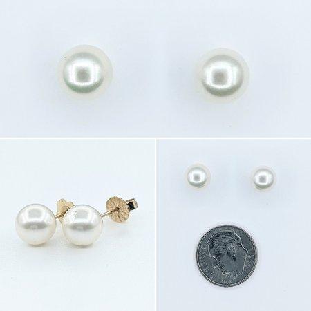 Earrings Stud 7.5mm Pearls 14ky 221090046