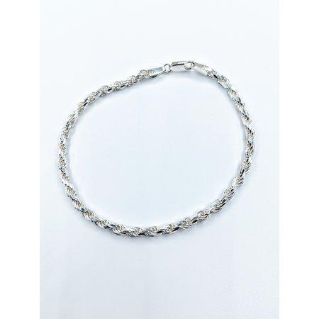 """Bracelet 3.5mm Rope Sterling 8"""" 121090351"""