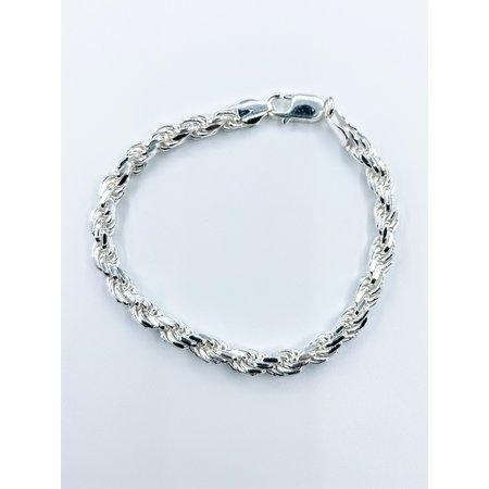 """Bracelet 6mm Rope Sterling 8"""" 121090349"""
