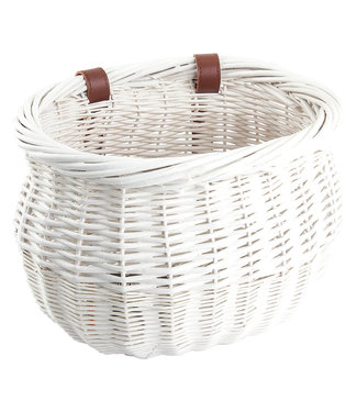 Sunlite Strap-On Willow Bushel Basket White 13x8x9