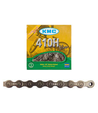 """KMC 410H Chain - Single Speed 1/2"""" x 1/8"""", 98 Links, Silver"""