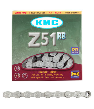 KMC Chain Z51 Index 6/7/8-Speed Rust Buster Silver 116 Links