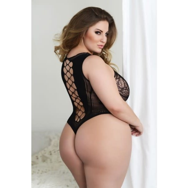 Killer Legs Intricate Lace Corset Back Romper Bodystocking Q