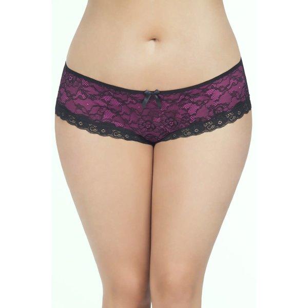 Oh La La Cheri Cage Back Lace Panty - 1x2x - Black/pink