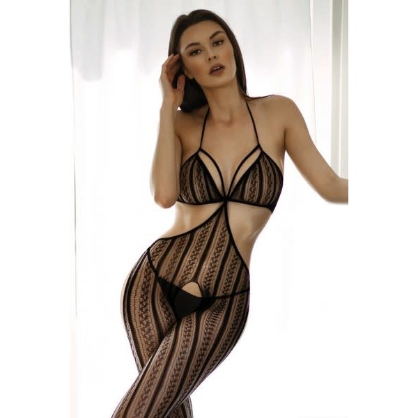 Killer Legs Mixed Signals Striped Fishnet Bodystocking
