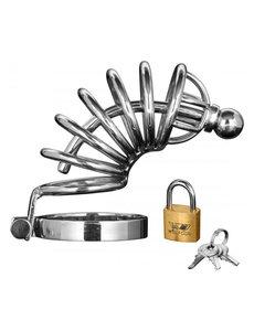 Master Series Asylum 6 Ring Locking Chastity Cage - Silver