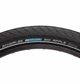 SCHWALBE Schwalbe Big Apple Tire 26 x 2.35, Wire Bead, RaceGuard, Black/Reflect