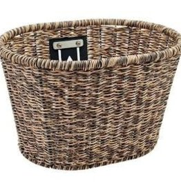ELECTRA ELECTRA Plastic Woven Basket  Light Brown/Black