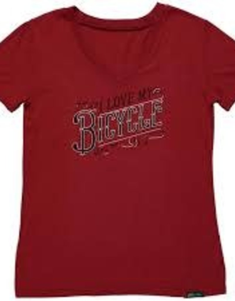 ELECTRA Shirt Electra I Love My Bicycle V Tee Women's Small Merlot