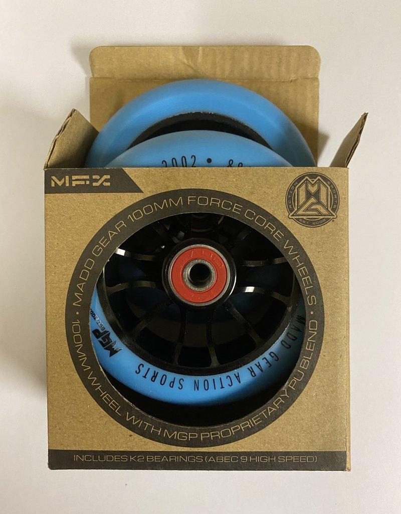 Madd Gear MADD GEAR 100MM FORCE CORE WHEELS BLUE/BLACK PAIR