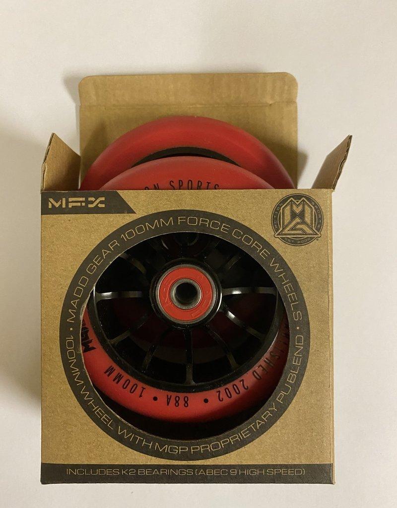 Madd Gear MADD GEAR 100MM FORCE CORE WHEELS RED/BLACK PAIR