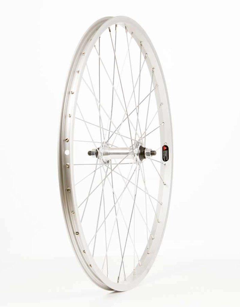 "Wheel Shop Front 24"" Wheel, 36H Silver Alloy Single Wall Alex C1000/ Silver Frmula FM-21 Nutted Axle Hub, Steel Spkes"