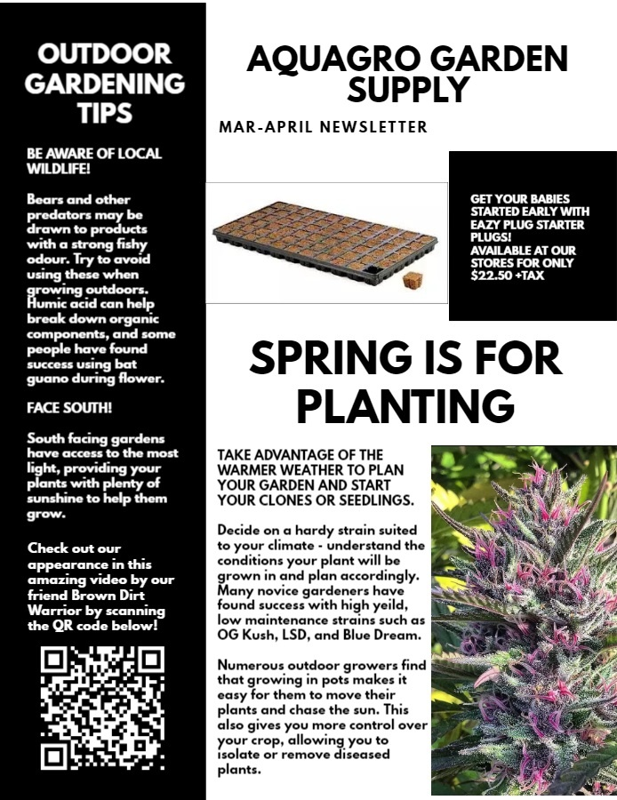 AQUAGRO COMMUNITY NEWSLETTER - HAVE YOU STARTED PLANTING YOUR GARDEN? (MAR-APRIL EDITION)