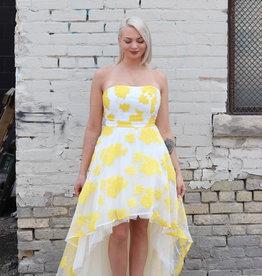 MANIJU Strapless floral hi lo dress