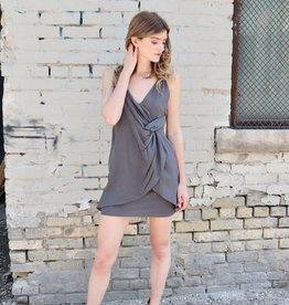 GRADE & GATHER Linen Dress W/Layered Twist Front