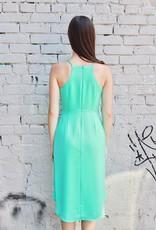 NAKED ZEBRA High neck midi length wrap waist tie dress
