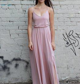 HUSH COLLECTION Flowy A line maxi dress w/ slit