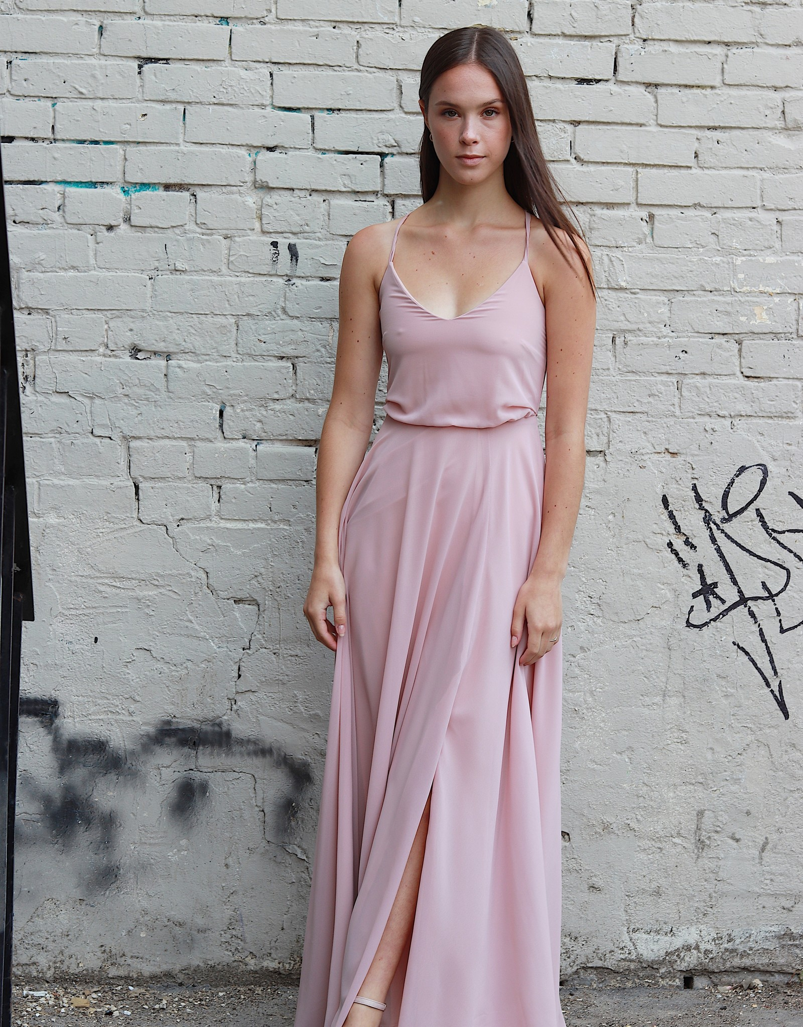 HUSH COLLECTION Flowy A line maxi dress w/ slit
