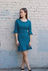 HUSH + SHOUT 3/4 sleeve heavy knit flounce dress