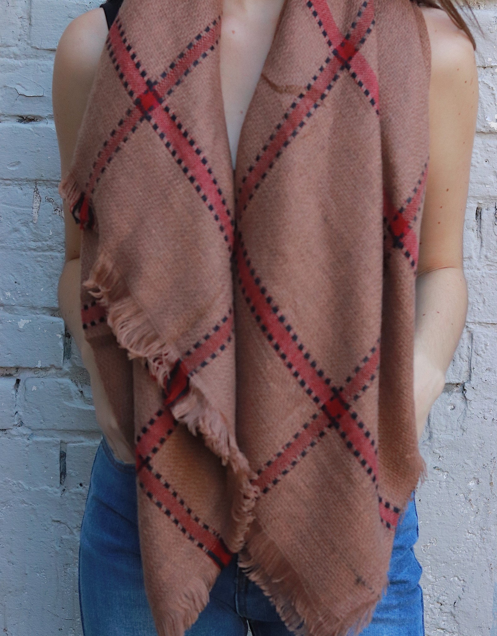 HUSH + SHOUT Plaid blanket scarf