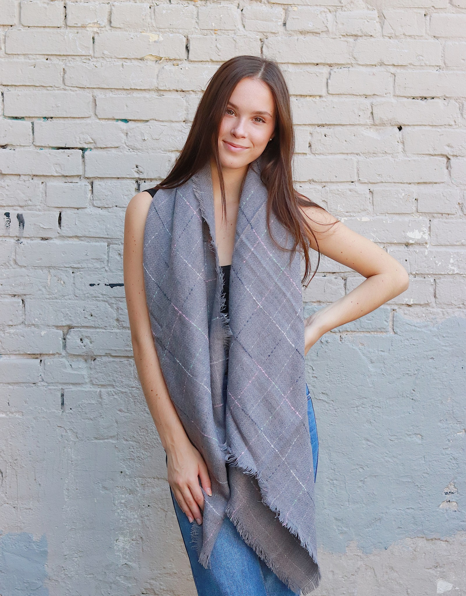 HUSH + SHOUT Oversized square lined graph check scarf