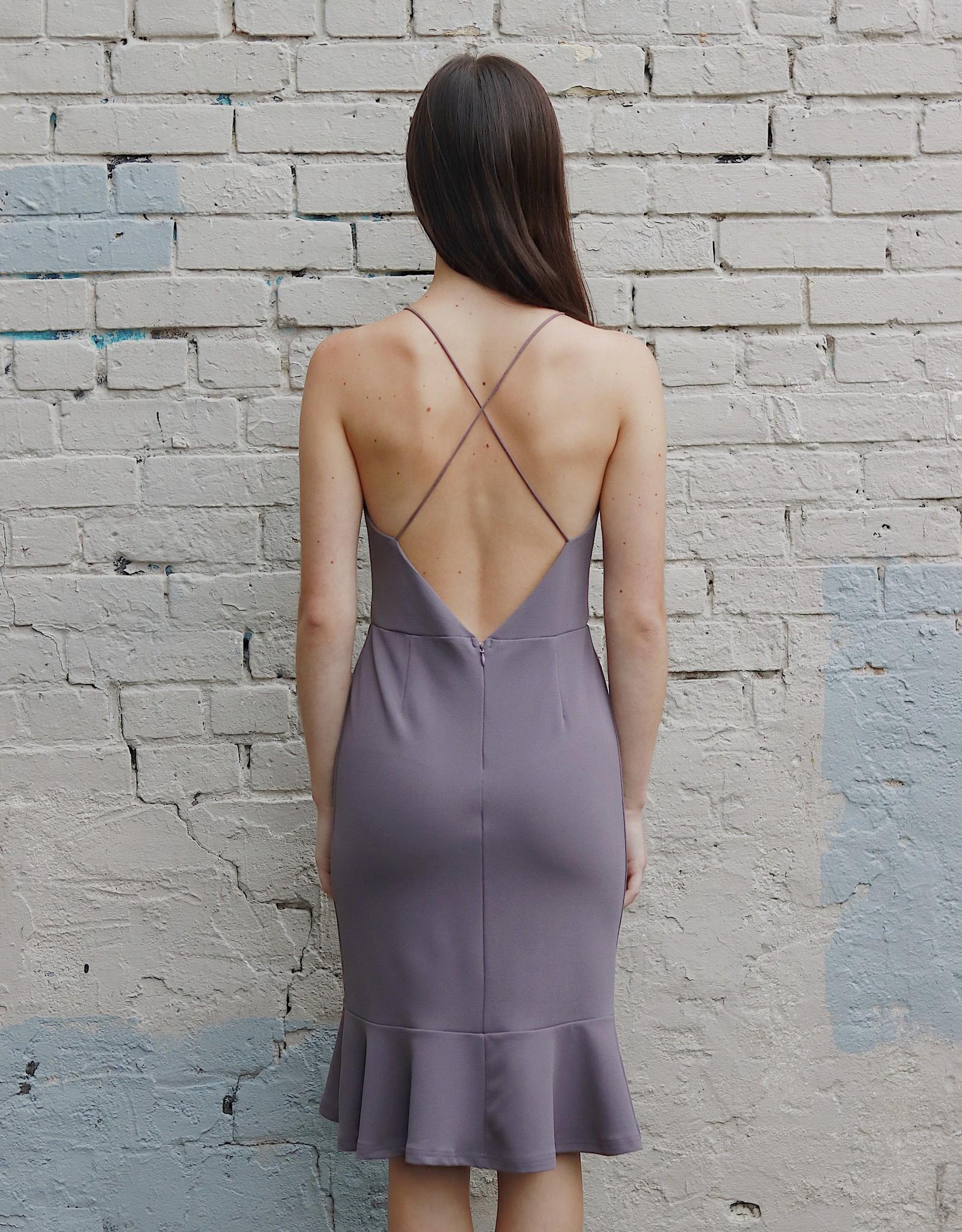 HUSH + SHOUT Knit midi cami flounce dress w/ cross back
