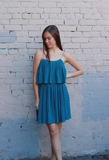 HUSH + SHOUT Pleated woven tiered cami dress